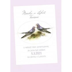Svatební oznámení Vlaštovky (No.214, jednoduchá karta)