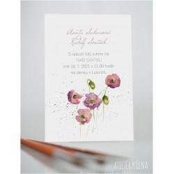 Svatební oznámení *Růžové květy* (No.222, karta)